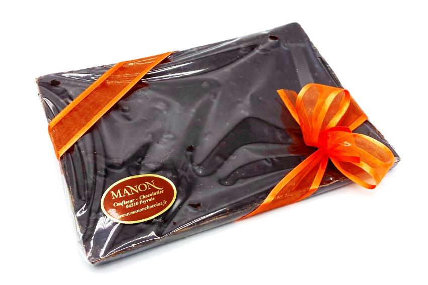 Plaque chocolat noir écorces orange confite