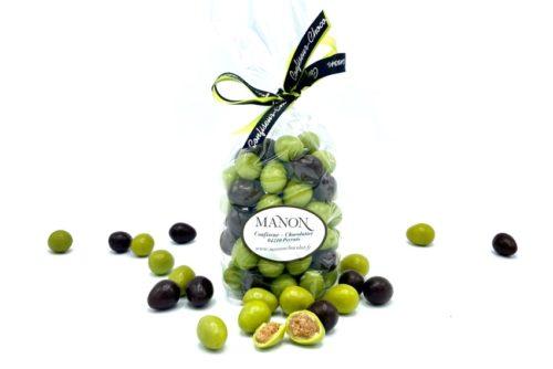 Sachet olives vertes et noires chocolat Manon