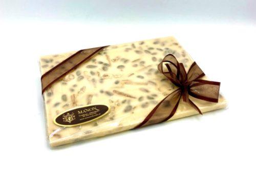 tablette à casser chocolat blanc écorces orange citron pistaches